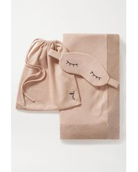 Morgan Lane Embroidered Metallic Cotton And Cashmere-blend Eye Mask And Blanket Set - Natural