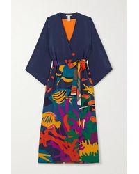 Eres Bedruckter Kimono Aus Seide - Blau