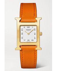 Hermès Heure H 21 Mm Kleine Vergoldete Uhr Mit Lederarmband - Orange