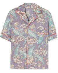 The Elder Statesman - Printed Cashmere And Silk-blend Shirt - Lyst