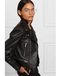 Saint Laurent Silberfarbene Brille Mit Rundem Rahmen - Mettallic