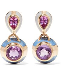 Alice Cicolini - 14-karat Gold, Sapphire, Amethyst And Enamel Earrings - Lyst