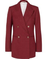 CASASOLA Double-breasted Wool, Silk And Linen-blend Blazer - Red