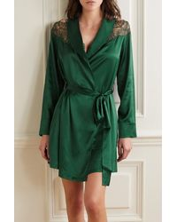 I.D Sarrieri Embroidered Tulle-trimmed Silk-blend Satin Robe - Green