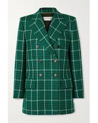 Saint Laurent Doppelreihiger Blazer Aus Karierter Wolle - Grün