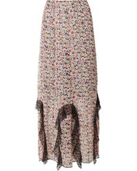 Anna Sui - Scattered Flowers Point D'esprit-trimmed Floral-print Silk-chiffon Midi Skirt - Lyst