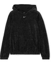 Nike Hoodie Aus Geripptem Velours Aus Einer Baumwollmischung - Schwarz