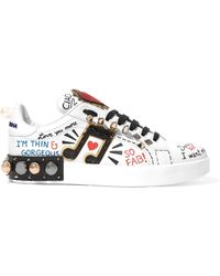 Dolce & Gabbana - Embellished Printed Leather Trainers - Lyst