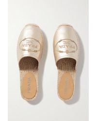 Prada Espadrille-slippers Aus Metallic-leder Mit Stickerei - Mettallic