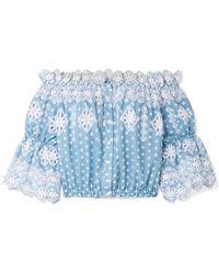 Miguelina Haut épaules Nues En Coton à Pois Et En Broderie Anglaise Renee - Bleu