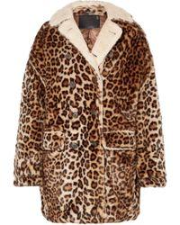 R13 - Oversized Shearling-lined Leopard-print Faux Fur Coat - Lyst