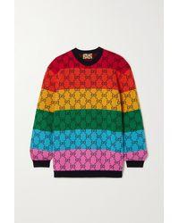 Gucci Gg Multicolour Pullover Aus Einer Woll-baumwollmischung Mit Intarsienmuster - Gelb