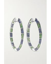 Ofira 18-karat White Gold, Sapphire And Tsavorite Earrings - Multicolour