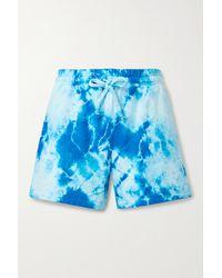 Year Of Ours Shorts Aus Baumwoll-jersey Mit Batikmuster - Blau