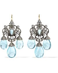 Fred Leighton - Collection 18-karat Gold, Silver, Diamond And Aquamarine Earrings - Lyst