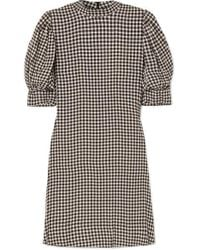 Ganni Gingham Crepe Mini Dress - Black