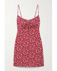 Reformation Abbott Floral-print Lyocell Mini Dress - Red