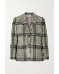 Thom Browne Checked Wool-tweed Blazer - Grey