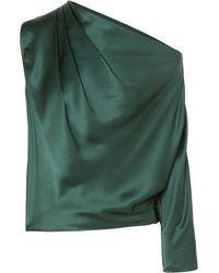 Michelle Mason One-sleeve Draped Silk-charmeuse Top - Green