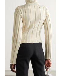 Area Embellished Ribbed Cotton-blend Turtleneck Jumper - Multicolour