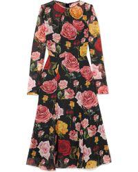 Dolce & Gabbana - Floral-print Silk-blend Georgette Midi Dress - Lyst