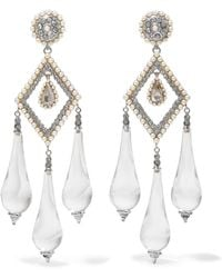 Etro - Silver-plated, Glass, Faux Pearl And Crystal Earrings - Lyst