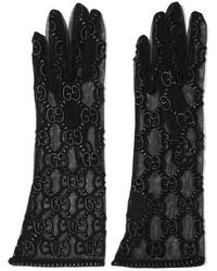 Gucci Gg Supreme Embroidered Tulle Gloves - Black