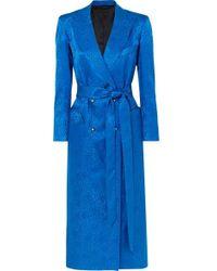 Blazé Milano Double-breasted Silk-jacquard Midi Dress - Blue