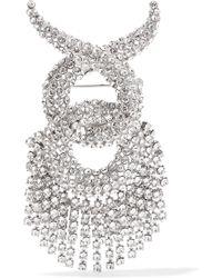 Balenciaga - Palladium-tone Swarovski Crystal Brooch - Lyst