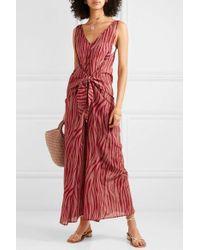 Diane von Furstenberg Acella Tie-front Tiger-print Cotton And Silk-blend Voile Jumpsuit - Red