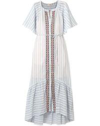 lemlem - Nefasi Embroidered Striped Cotton-blend Gauze Dress - Lyst