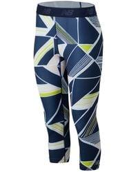 New Balance Femme Printed Accelerate Capri - Bleu