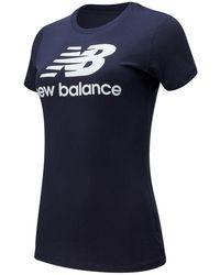 New Balance Essentials Stacked Logo Tee - Blue