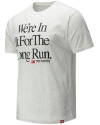 New Balance Uomo London Marathon Essentials Icon Long Run Tee - Grigio
