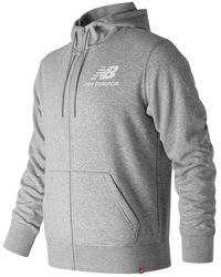 New Balance Hombres Essentials Stacked Logo Full Zip Hoodie - Gris