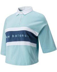 New Balance Nb Athletics Prep Short Sleeve Boxy Polo - Blue