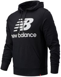 New Balance Nb Essentials Stacked Logo Po Hoodie - Black