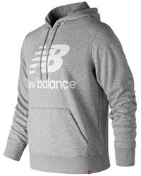 New Balance Essentials Stacked Logo Pullover Hoodie - Grey
