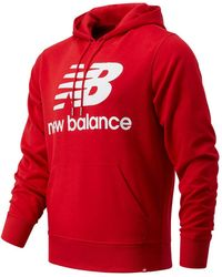 New Balance Hombre NB Essentials Stacked Logo Po Hoodie - Rojo