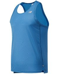 New Balance Homme Printed Impact Run Singlet - Bleu