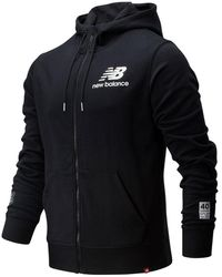 New Balance London Edition Essentials Stacked Logo Fz Hoodie - Black