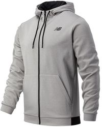 New Balance Uomo Tenacity Fleece Full Zip Hoodie - Grigio