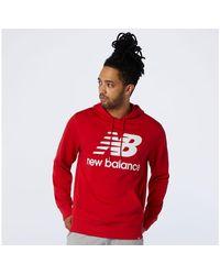 New Balance Sudadera con capucha NB Essentials Stacked Logo Po - Rojo