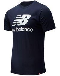 New Balance Uomo Essentials Stacked Logo Tee - Blu