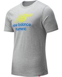 New Balance 93650 Nb Numeric Logo Stacked Tee - Gray