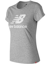 New Balance Women's Essentials Stacked Logo Tee - Grey
