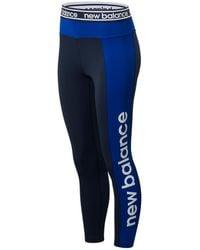 New Balance Donna Leggings Relentless Graphic High Rise 7/8 - Blu