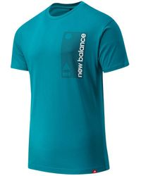New Balance Uomo T-Shirt Essentials Terrain Grid - Blu