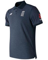 New Balance England Cricket Media Polo Shirt -galaxy Heather - Blue