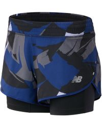 New Balance 4 Inch Printed Impact Short - Blue